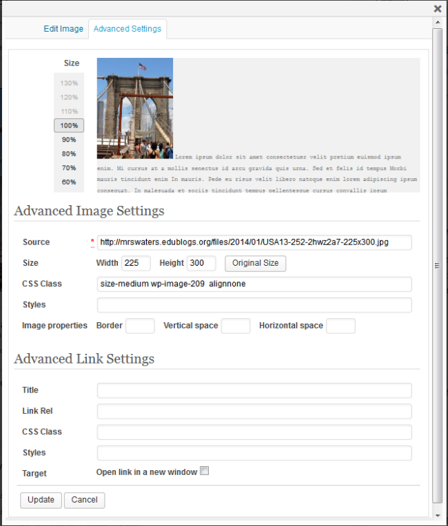 Advanced Settings page