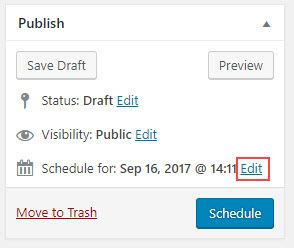 Click on Edit next to schedule