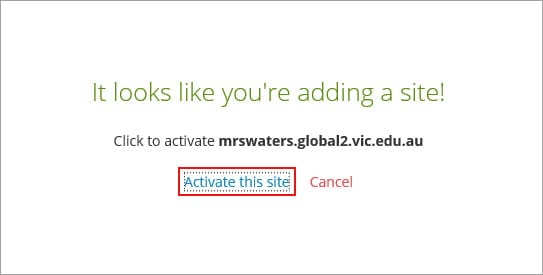Activate this site