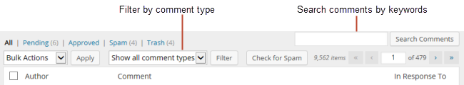 Comment filter options