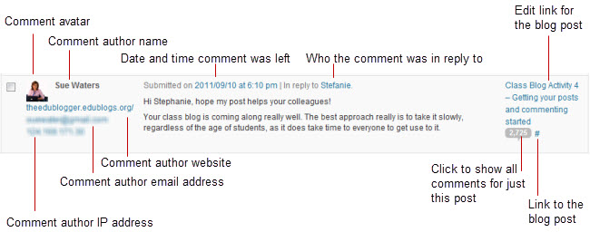 Manage, edit and approve comments – Edublogs Help and Support