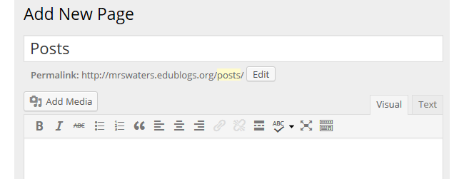 Create Posts page