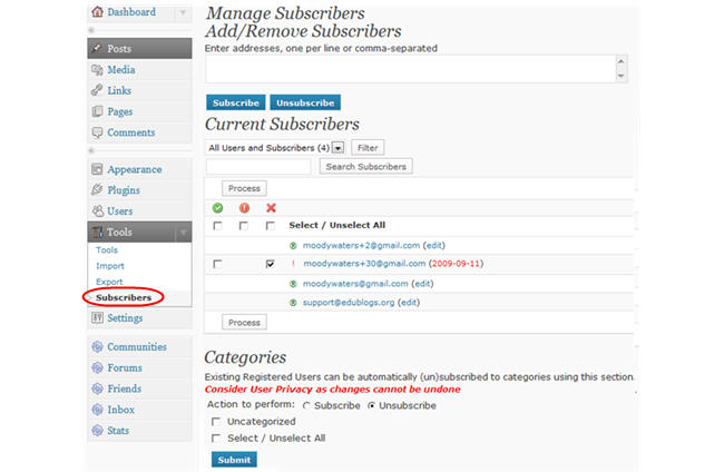 Image of manage subscribers