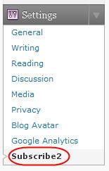 Image of subscribe2 menu