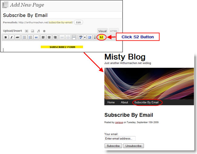 Image of Subscribe 2 on a page
