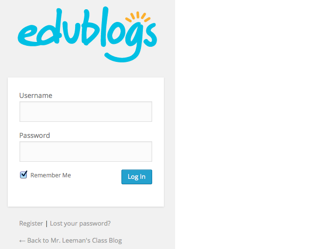 Edublogs login