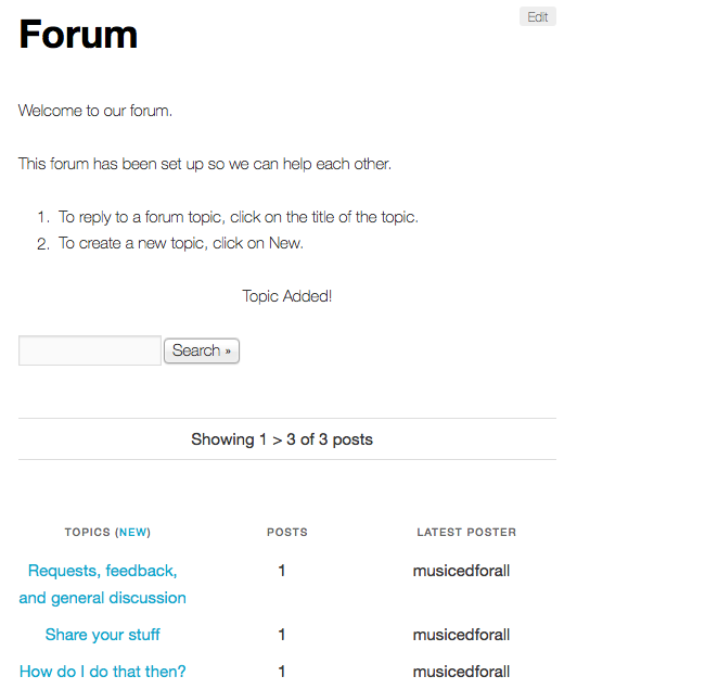 Forum with three topics