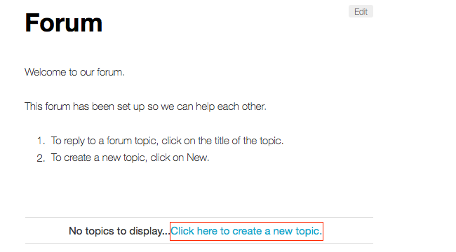 Forum - Create new topic