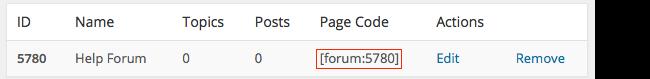 Forum shortcode