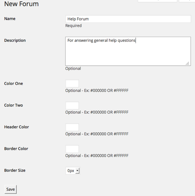 New Forum Options