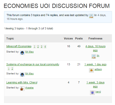 A forum with 3 topics