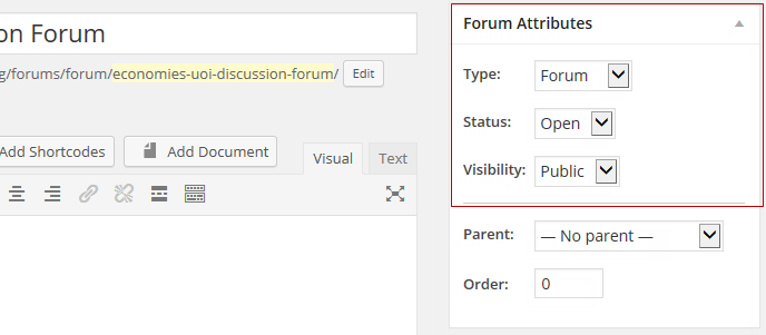 Forum attributes