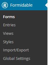 Formidable Forms menu