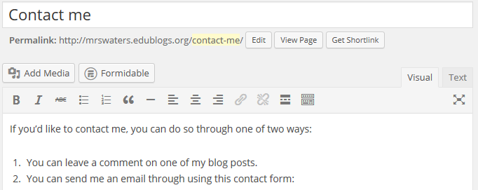 Add form code to page