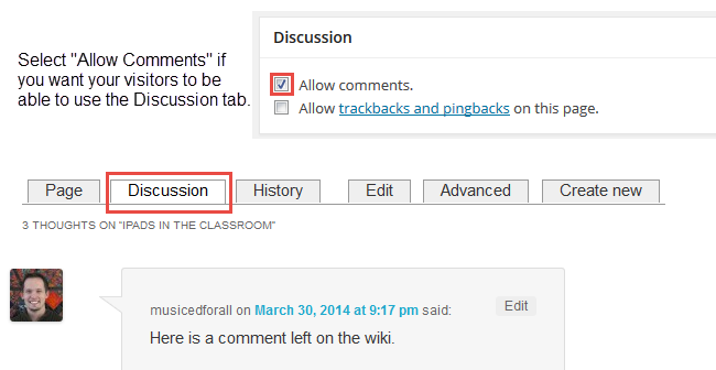Wiki - Allow comments
