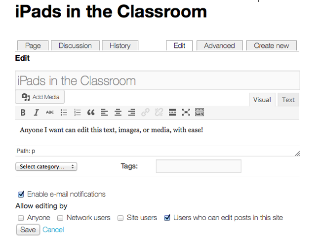 Adding and using a wiki on your blog – Edublogs Help and Support