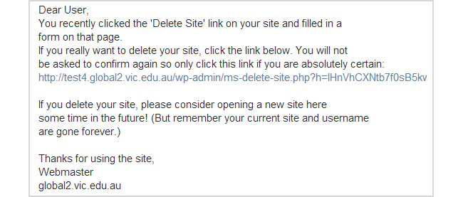 Delete confirmation email