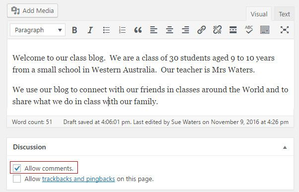 Enable and Disable Comments on Published Posts and Pages – Edublogs