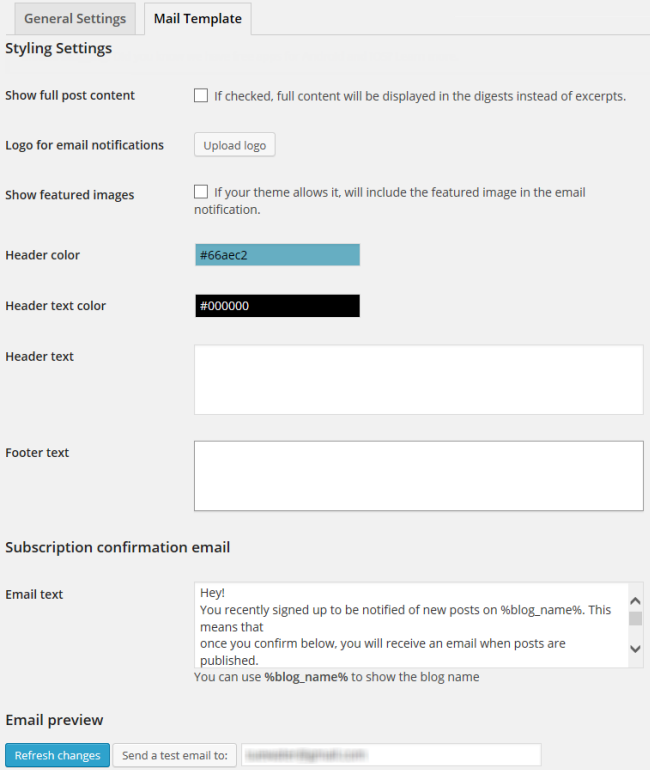 Mail Template settings