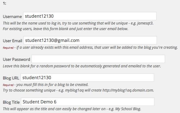 Create student blogs
