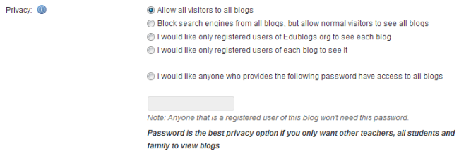 Privacy on student blogs
