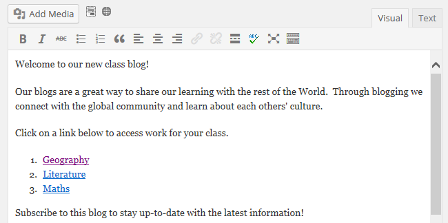 Publish a welcome page
