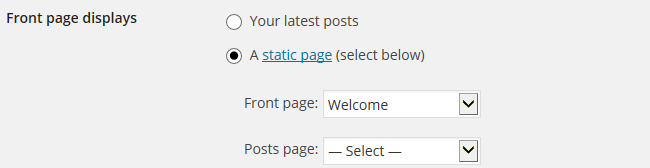 Select static front page