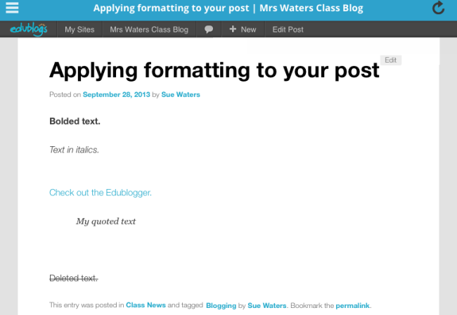Formatting in a post