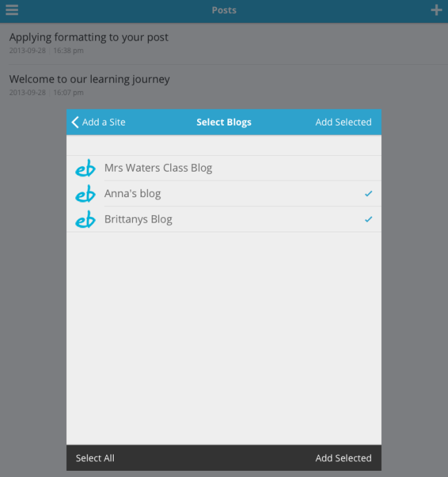 Add Selected blogs