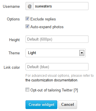 Configure your twitter widget