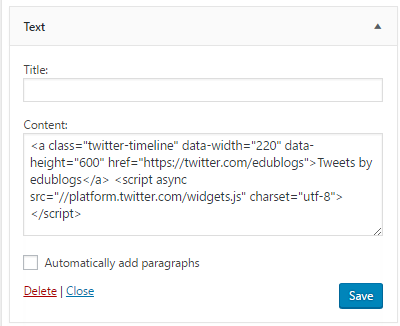 Paste embed code