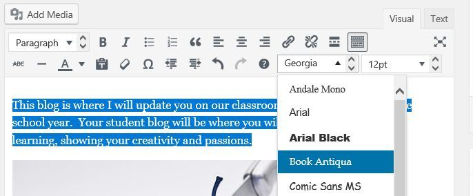 Change font type, size and color in your posts – Edublogs