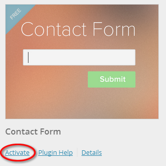 Activate Contact Form Plugin