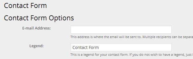 Contact Form Options