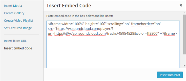 Paste your Embed code