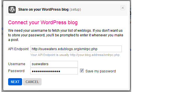 Add your WordPress blog