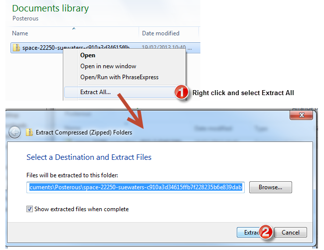 Extract zip file