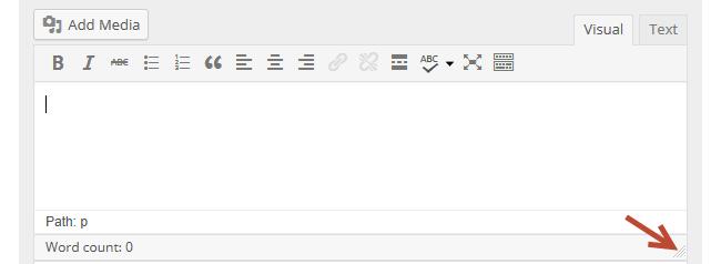 Resizing the editor