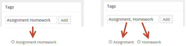 Adding multiple tags