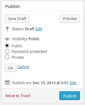 Visibility in publish module
