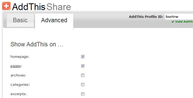 Advanced Settings page