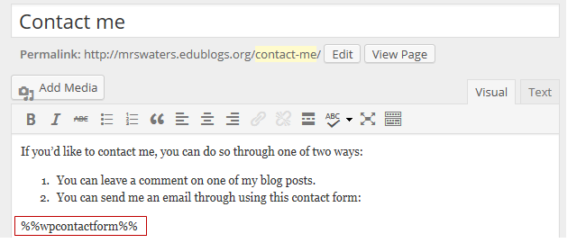 Add contact form code