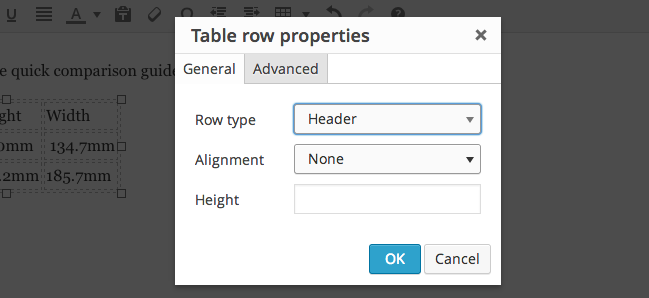table row header