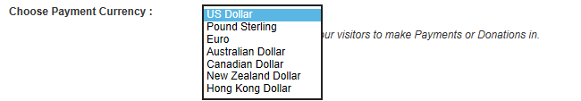 Choose your payment currency