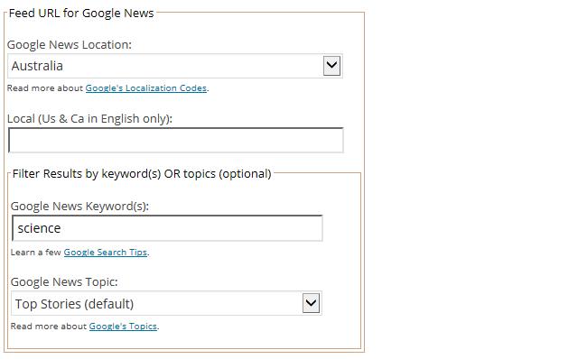 Set up your Google news options