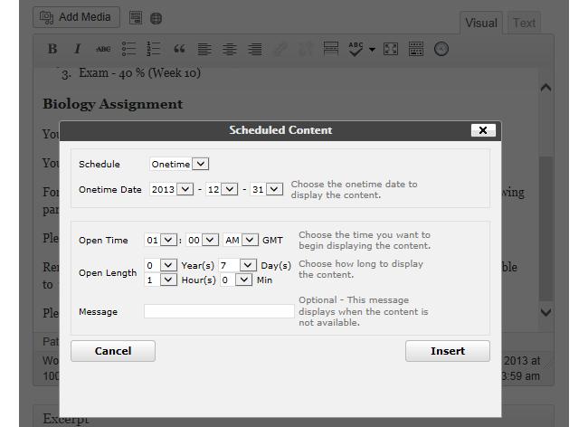Scheduling content