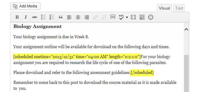 Schedule content shortcode