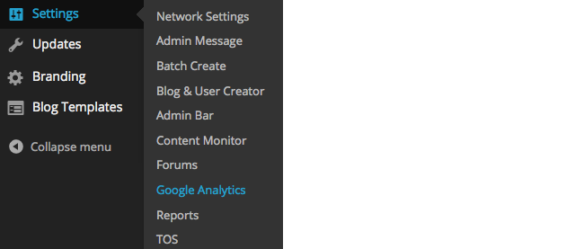 Network Settings Google Analytics
