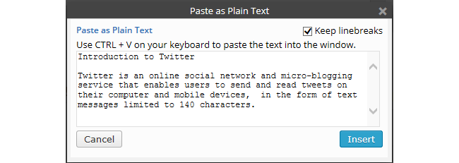 Paste as plain text