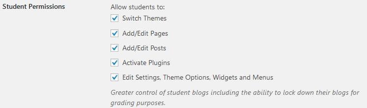 Student permissions